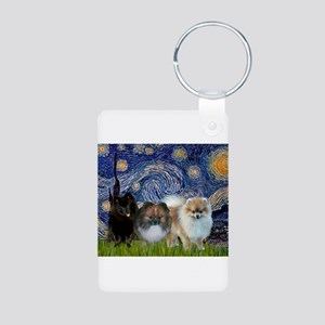 Starry/3 Pomeranians Aluminum Photo Keychain