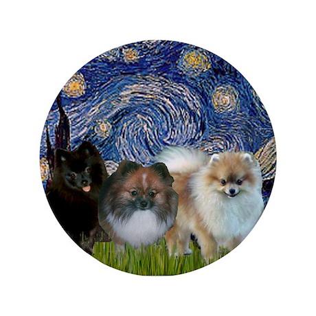 "Starry/3 Pomeranians 3.5"" Button"
