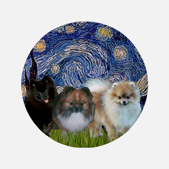 "Starry/3 Pomeranians 3.5"" Button"
