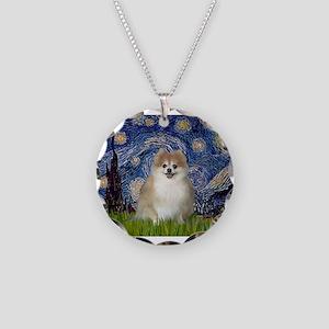Starry / Pomeranian Necklace Circle Charm