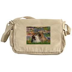 Lilies / 2 Pomeranians Messenger Bag