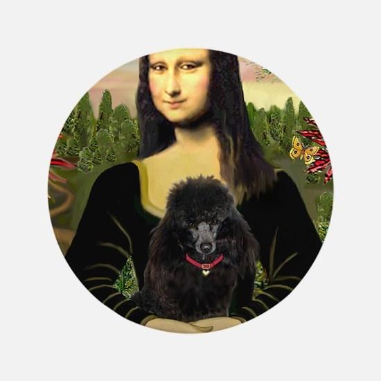 """Mona / Poodle (bl) 3.5"""" Button"""