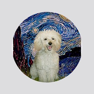 """Starry / Poodle (White) 3.5"""" Button"""