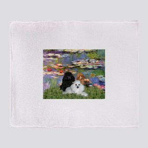 Lilies / 3 Poodles Throw Blanket