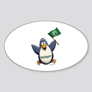 Washington Penguin Sticker (Oval)