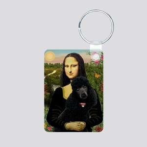 Mona / Std Poodle (bl) Aluminum Photo Keychain