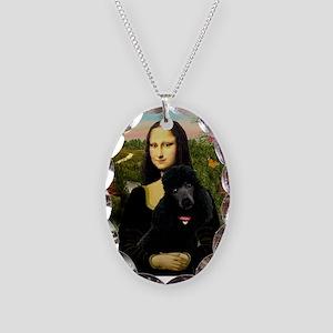 Mona / Std Poodle (bl) Necklace Oval Charm