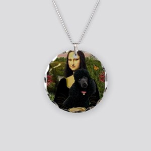 Mona / Std Poodle (bl) Necklace Circle Charm