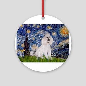 Starry Night / Std Poodle(w) Ornament (Round)