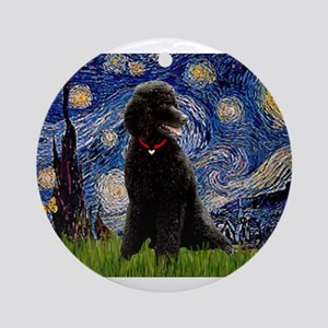 Starry / Std Poodle(bl) Ornament (Round)