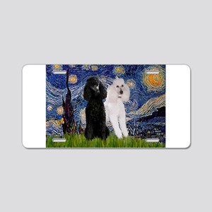 Starry Night / 2 Poodles(b&w) Aluminum License Pla