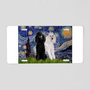 Starry Night / 2 Poodles(b&w) Aluminum License Pla