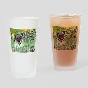 Irises / Pug Drinking Glass