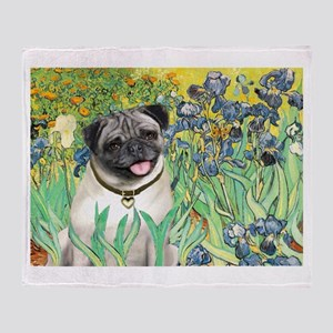 Irises / Pug Throw Blanket