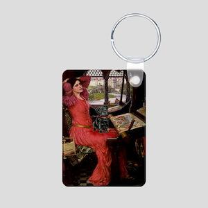 Lady / Black Pug Aluminum Photo Keychain