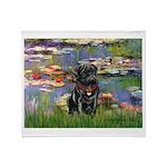 Lilies (#2) & Black Pug Throw Blanket