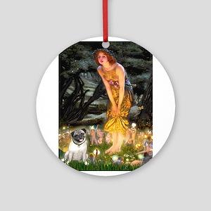 Fairies & Pug Ornament (Round)