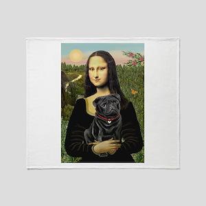 Mona's Black Pug Throw Blanket
