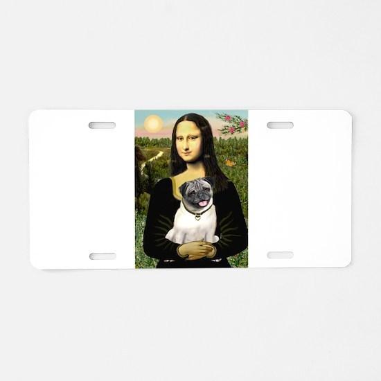 Mona's Fawn Pug Aluminum License Plate