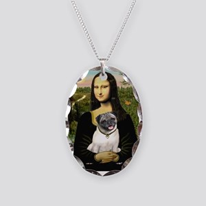 Mona's Fawn Pug Necklace Oval Charm