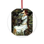 Ophelia (2) & Black Pug Ornament (Round)