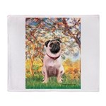 Spring / Pug Throw Blanket