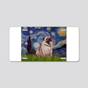 Starry Night and Pug Aluminum License Plate