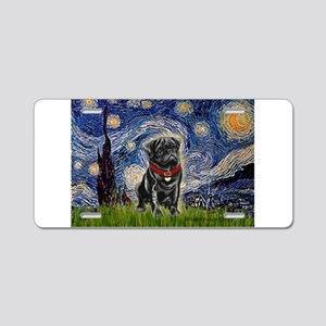 Starry Night / Black Pug Aluminum License Plate
