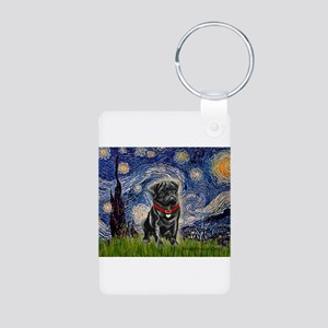 Starry Night / Black Pug Aluminum Photo Keychain
