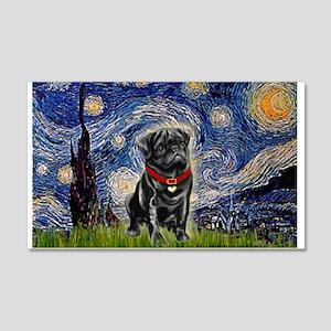 Starry Night / Black Pug 20x12 Wall Decal