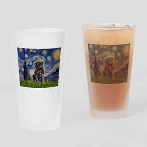 Starry Night / Black Pug Drinking Glass