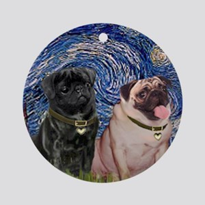 Starry Night / 2 Pugs Ornament (Round)