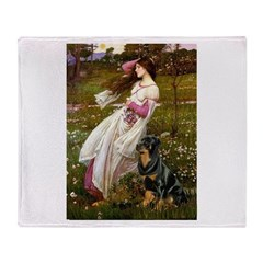 Windflowers / Rottweiler Throw Blanket