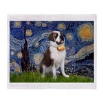 Starry / Saint Bernard Throw Blanket