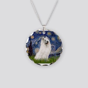 Starry / Samoyed Necklace Circle Charm