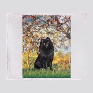 Spring & Schipperke Throw Blanket