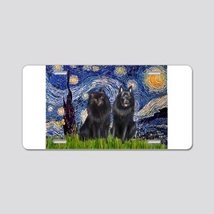 Starry Night & Schipperke Aluminum License Plate
