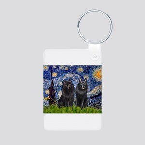 Starry Night & Schipperke Aluminum Photo Keychain