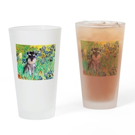 Irises / Miniature Schnauzer Drinking Glass