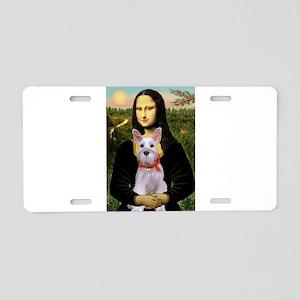 Mona Lisa / Min Schnauzer Aluminum License Plate