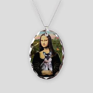 Mona Lisa's Schnauzer Puppy Necklace Oval Charm