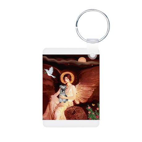 Angel / Min Schnauzer Aluminum Photo Keychain