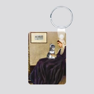 Whistler's Mother /Schnauzer Aluminum Photo Keycha