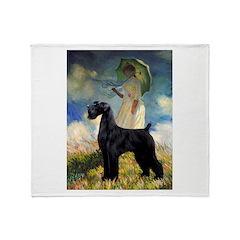 Umbrella/Giant Schnauzer (black) Throw Blanket