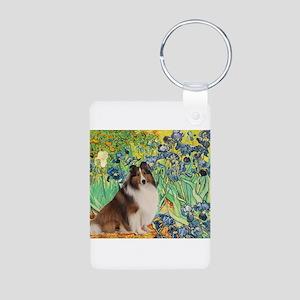 Irises / Sheltie Aluminum Photo Keychain