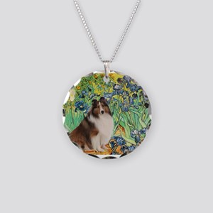 Irises / Sheltie Necklace Circle Charm