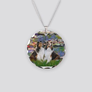 Lilies #2 / Two Shelties Necklace Circle Charm