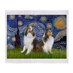 Starry / Two Shelties (D&L) Throw Blanket