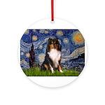 Starry Night / Sheltie (t) Ornament (Round)