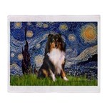 Starry Night / Sheltie (t) Throw Blanket